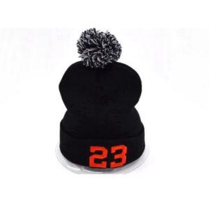 Шапка Jordan 23 #1 с помпоном чёрно-красная