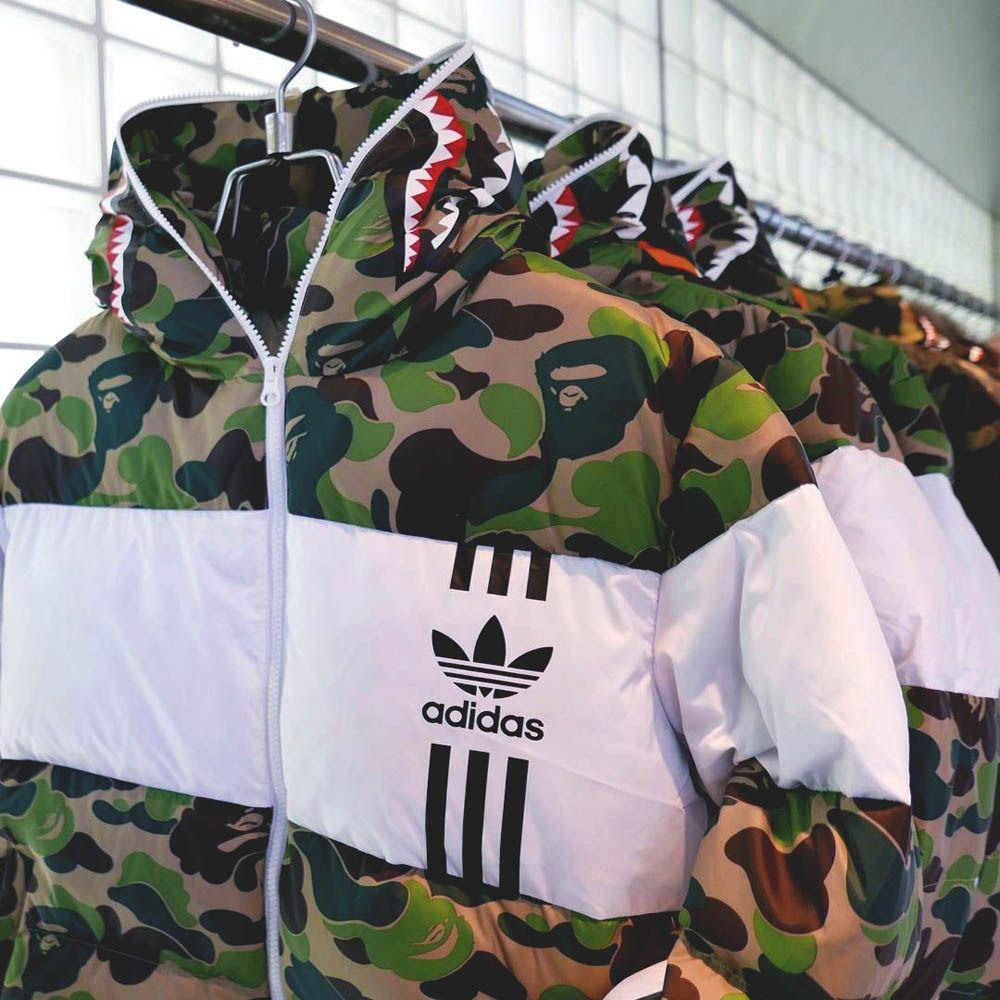 Bape X adidas ABC Camo Firebird Shark Puffer Jacket Green купить