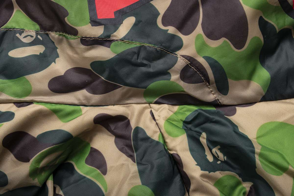 Заказать поиск куртки BAPE X adidas ABC Camo Firebird Shark Puffer Jacket Green