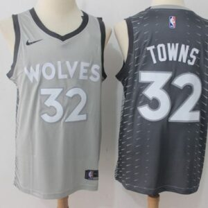 2017-18 Towns Timberwolves #32 City Gray
