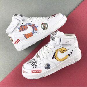 Supreme x NBA x Nike Air Force 1 Mid 07 White 1