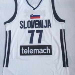 Купить баскетбольную джерси Slovenija 77 Luka Dončić в белом цвете