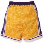 Bape x Mitchell & Ness Lakers ABC Basketball Authentic Shorts Yellow-1
