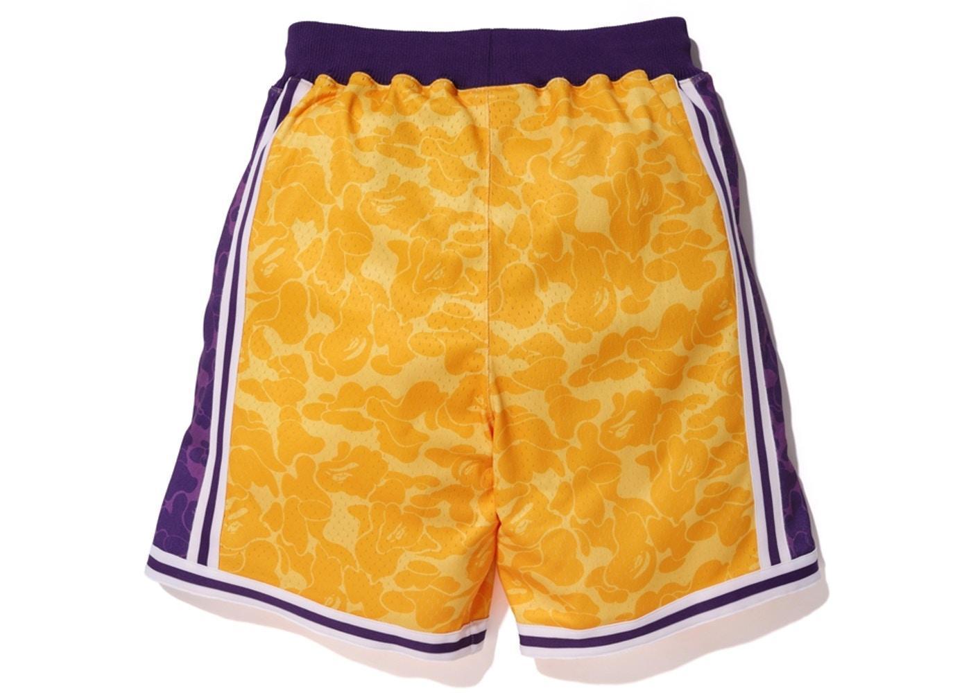 Купить баскетбольные шорты Bape x Mitchell & Ness Lakers ABC Basketball Authentic Shorts Yellow