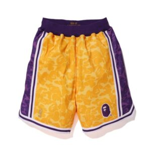 Купить баскетбольные шорты Bape x Mitchell & Ness Lakers ABC Basketball Authentic Shorts Yellow