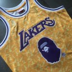 Bape x Mitchell & Ness Lakers ABC Basketball Swingman Jersey Yellow-2