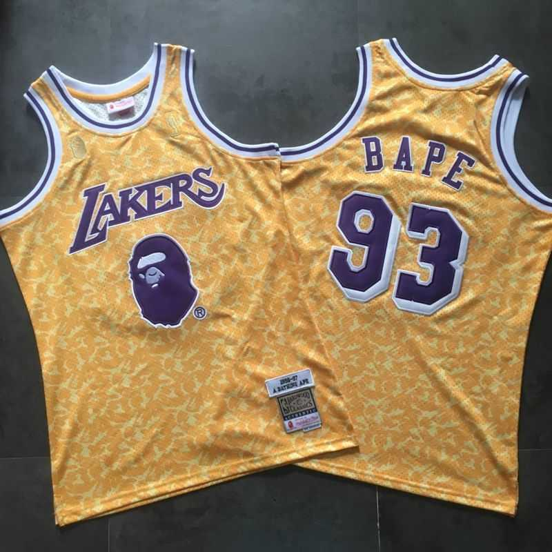 Bape x Mitchell & Ness Lakers ABC Basketball Swingman Jersey Yellow-3