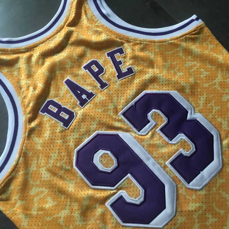 Bape x Mitchell & Ness Lakers ABC Basketball Swingman Jersey Yellow-5