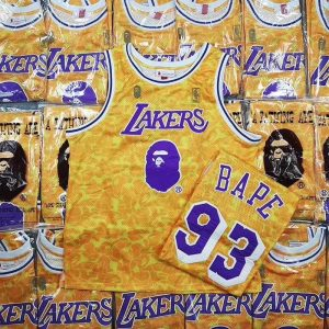 Купить баскетбольную джерси Bape x Mitchell & Ness Lakers ABC Basketball Swingman Jersey Yellow