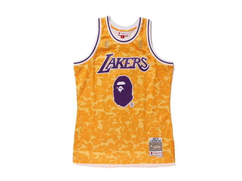 Bape x Mitchell & Ness Lakers ABC Basketball Swingman Jersey Yellow