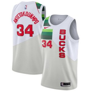 Заказать поиск джерси 2018-19 Antetokounmpo Bucks #34 Earned White