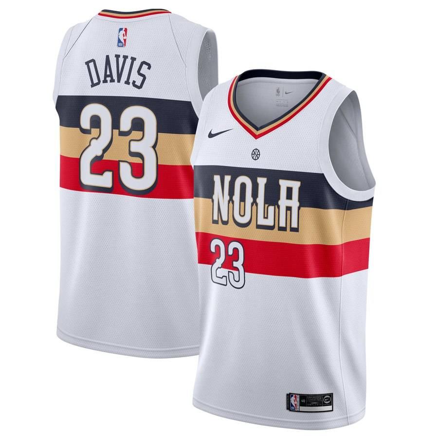 Заказать поиск джерси 2018-19 Anthony Davis Pelicans 23 Earned White
