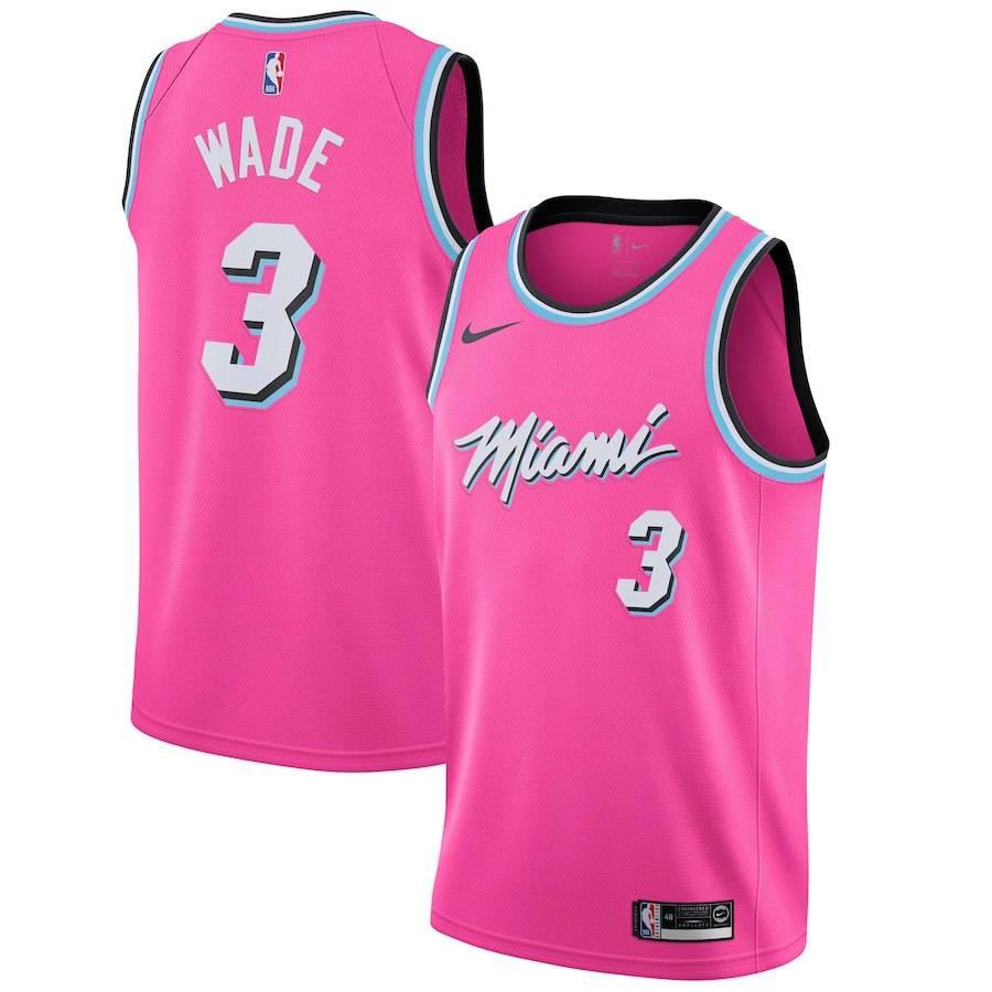 Заказать поиск джерси 2018-19 Dwyane Wade Heat #3 Earned Pink