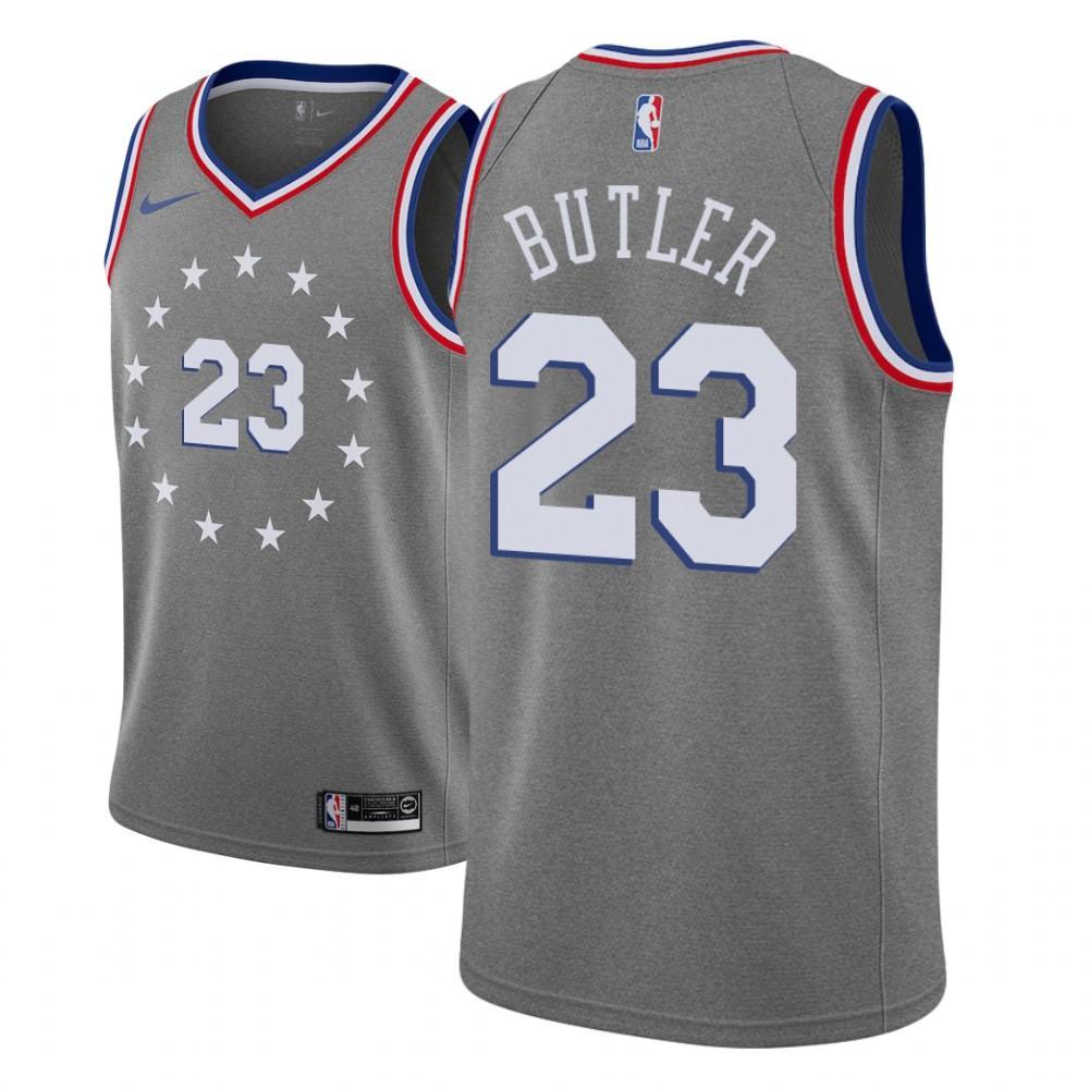 Заказать поиск джерси 2018-19 Jimmy Butler 76ers #23 City Gray