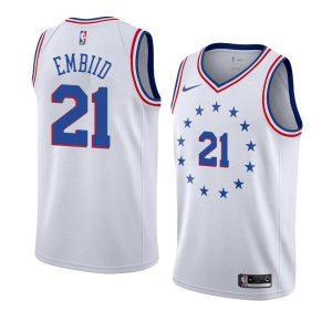 Заказать поиск джерси 2018-19 Joel Embiid 76ers #21 Earned White
