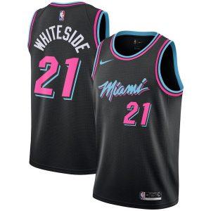 Заказать поиск джерси 2018-19 Miami Heat #21 Whiteside City Black