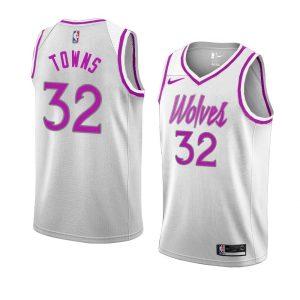 Заказать поиск джерси 2018-19 Towns Timberwolves #32 Earned White