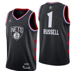 Заказать поиск джерси Brooklyn Nets #1 D'Angelo Russell Black 2019 All-Star