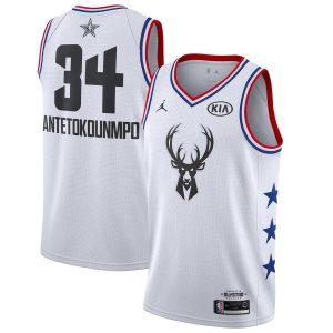 Заказать поиск джерси Giannis Antetokounmpo Bucks #34 2019 All-Star White с бесплатной доставкой.
