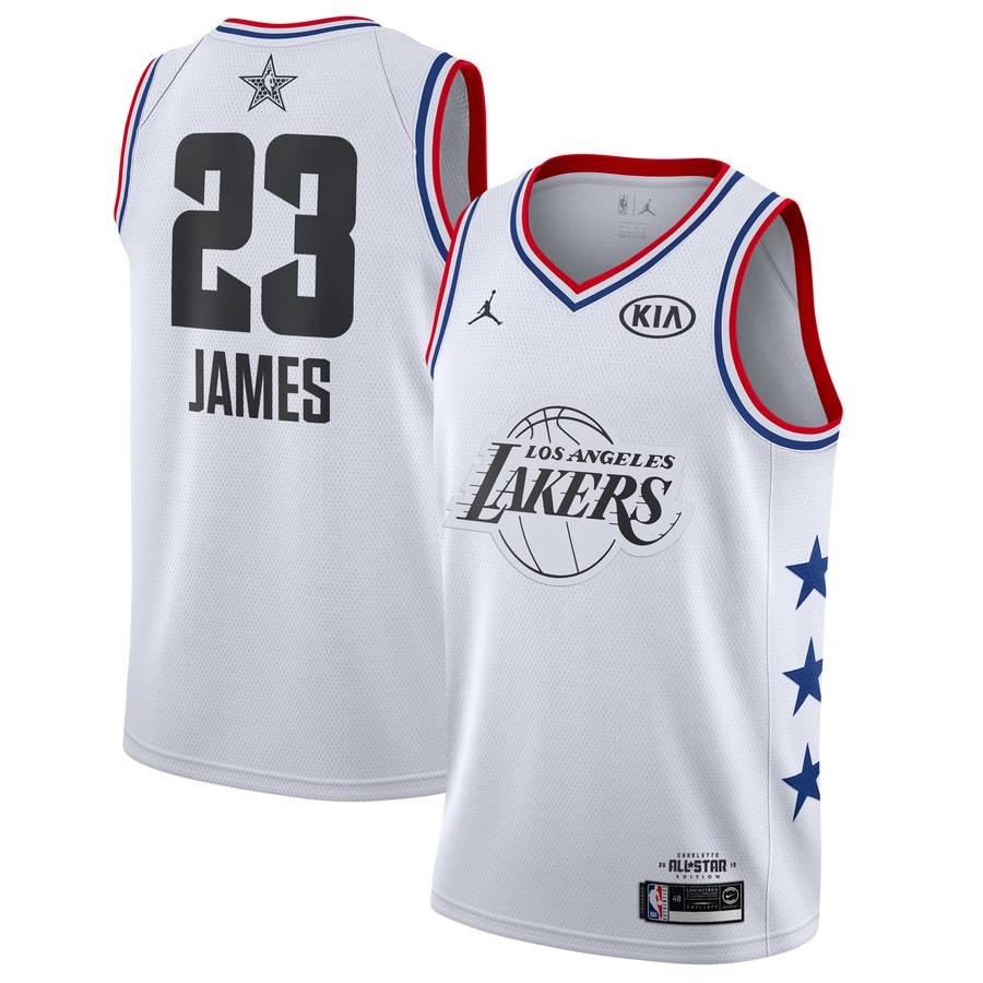Заказать поиск джерси LeBron James Lakers #23 2019 All-Star White