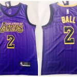 Los Angeles Lakers #2 Lonzo Ball Purple City-1