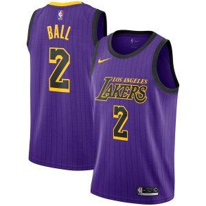 Заказать поиск джерси Los Angeles Lakers #2 Lonzo Ball Purple City
