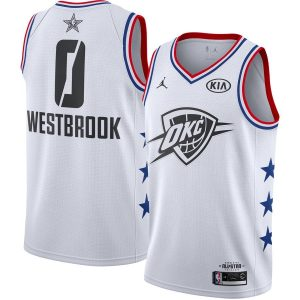 Заказать поиск джерси Russell Westbrook Thunder #0 2019 All-Star White