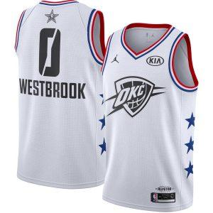 Заказать поиск джерси Russell Westbrook Thunder #0 2019 All-Star White