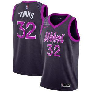 Заказать поиск джерси 2018-19 Towns Timberwolves #32 City Purple
