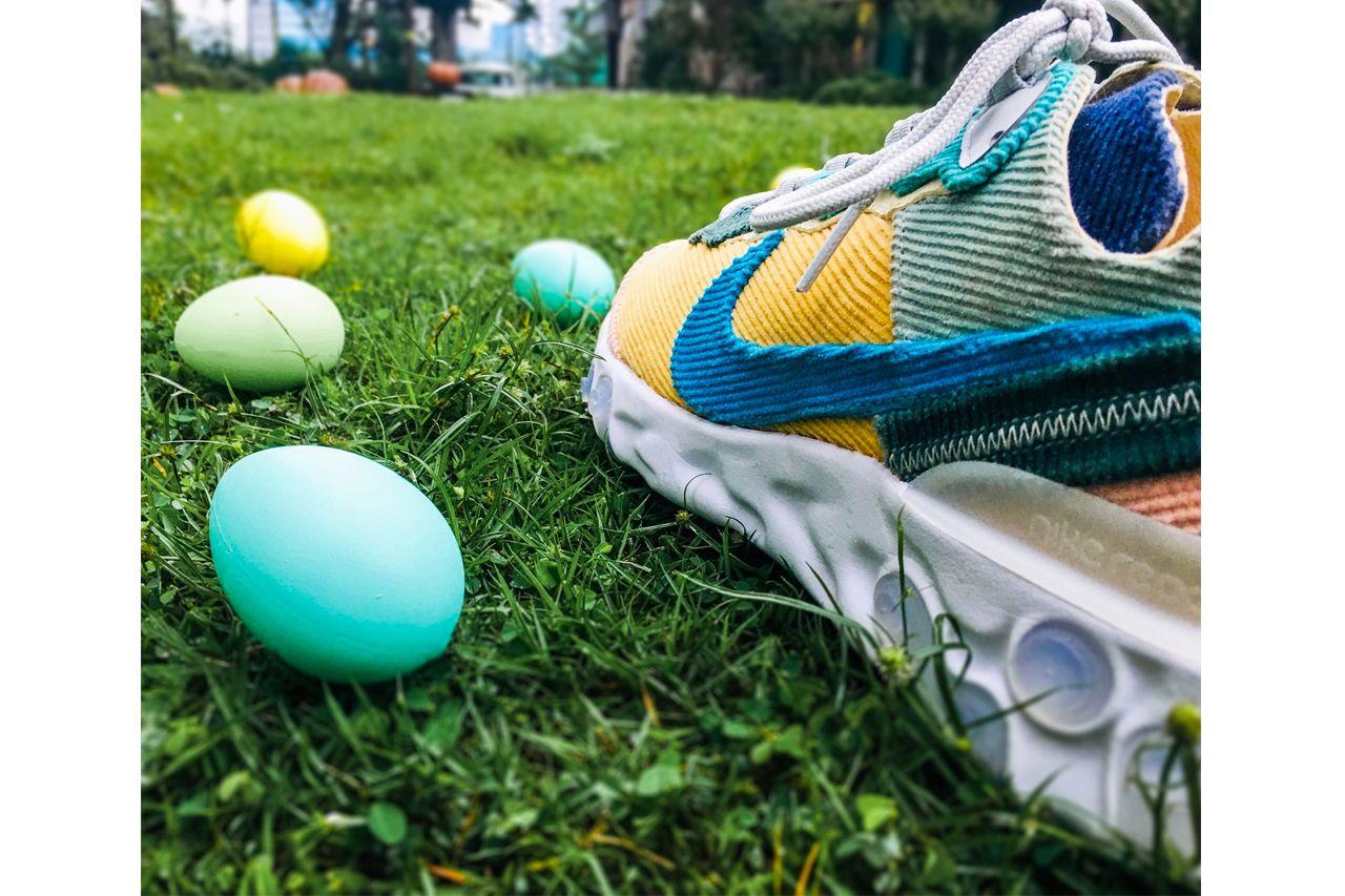 Студия XYLAR модифицирует Nike React Element 87 в «Пасхальный вельвет»