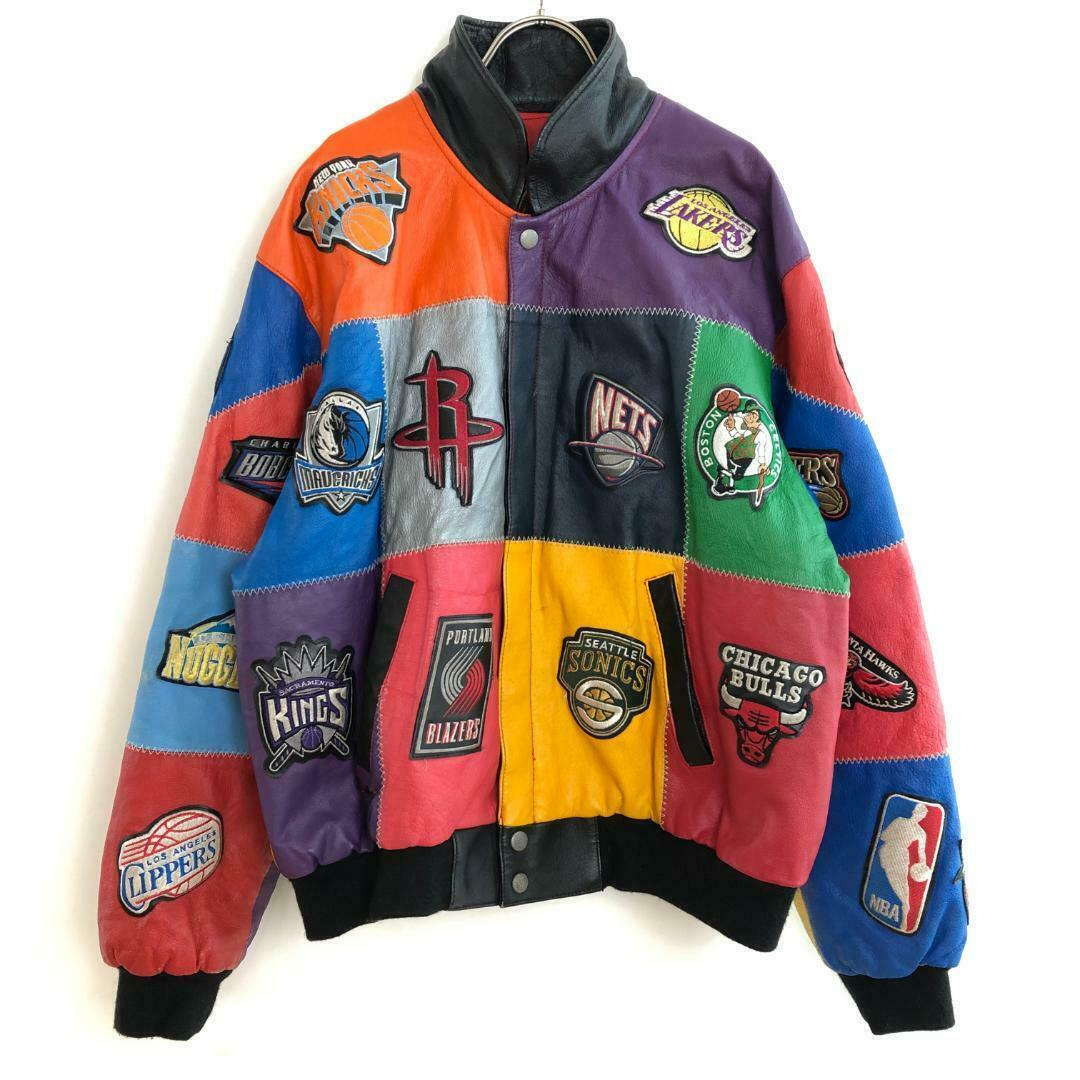 Jeff Hamilton NBA Team Emblem Patchwork Leather Bomber Jacket Vintage Rare из Японии