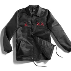 Заказать поиск куртки KAWS x Jordan Satin Coaches Jacket Black