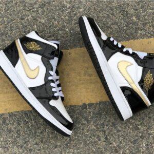 Заказать поиск кроссовок Air Jordan 1 Mid Patent Black Gold