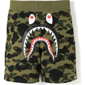 BAPE 1st Camo Shark Sweat Shorts Green