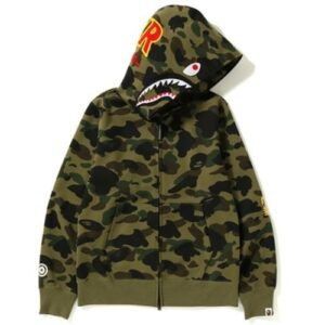 BAPE 1st Camo Windstopper PONR Shark Full Zip Hoodie Green