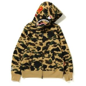 BAPE 1st Camo Windstopper PONR Shark Full Zip Hoodie Yellow
