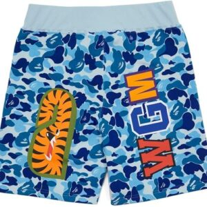 BAPE ABC Camo WGM Print Shark Sweatshorts Light Blue