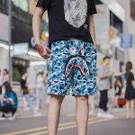 BAPE ABC Camo WGM Print Shark Sweatshorts Light Blue-10