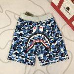 BAPE ABC Camo WGM Print Shark Sweatshorts Light Blue-2