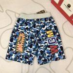 BAPE ABC Camo WGM Print Shark Sweatshorts Light Blue-3