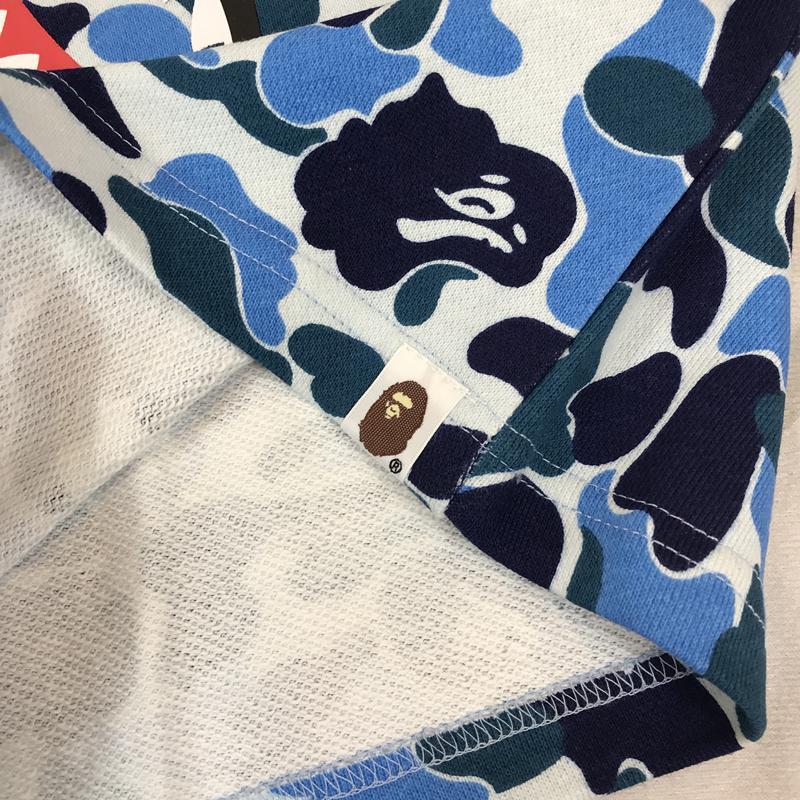 BAPE ABC Camo WGM Print Shark Sweatshorts Light Blue
