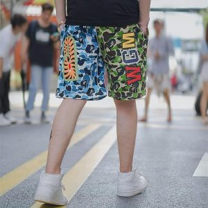 BAPE ABC Split Shark Shorts Green Blue