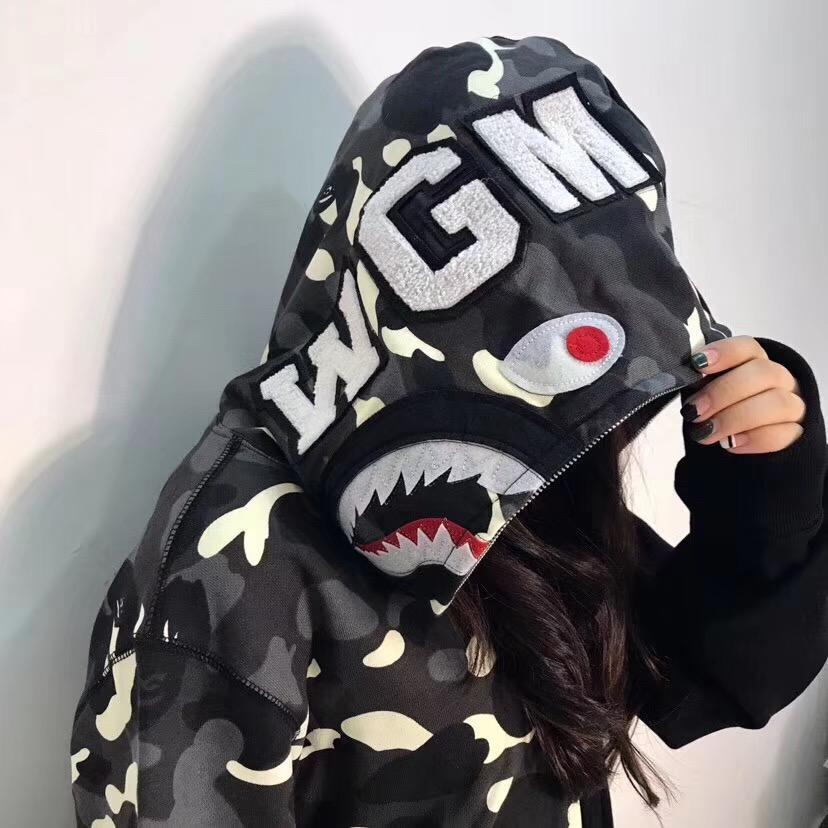 BAPE City Camo Half Shark Full Zip Hoodie Black
