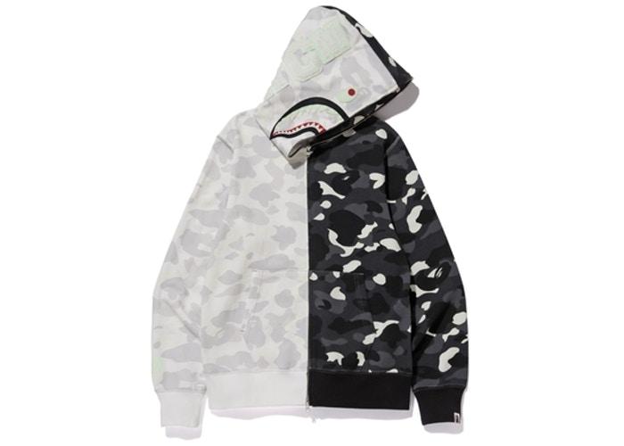 BAPE City Camo Half Shark Full Zip Hoodie White Black