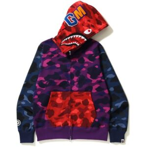 BAPE Color Camo Crazy Shark Full Zip Hoodie Multi