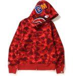 BAPE Color Camo Shark Full Zip Hoodie Red