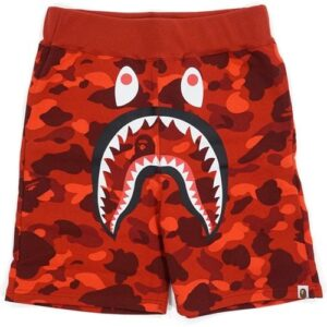 BAPE Color Camo Shark Sweatshorts Red