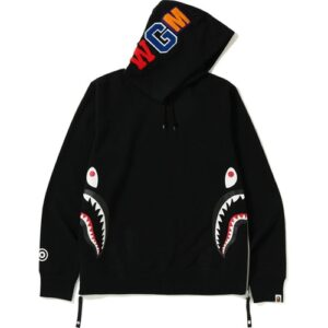 BAPE Side Zip Shark Wide Pullover Hoodie Black