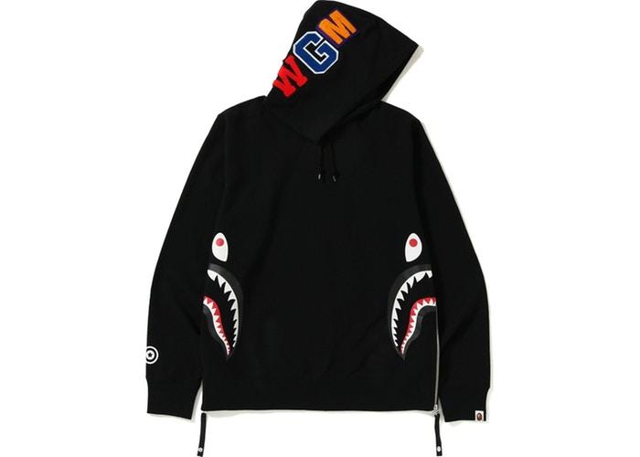 BAPE Side Zip Shark Wide Pullover Hoodie Black