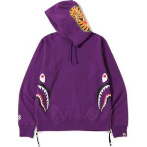 BAPE Side Zip Shark Wide Pullover Hoodie Purple
